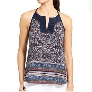 ATHLETA tank top DUNES navy medallion floral tie S